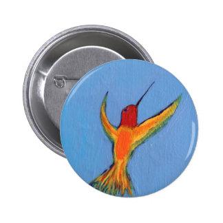 Hummingbird on blue pinback button