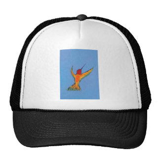 Hummingbird on blue trucker hat