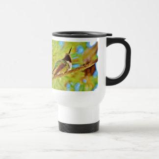 Hummingbird on evergreen 15 oz stainless steel travel mug