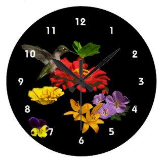 Hummingbird on Flowers Clock