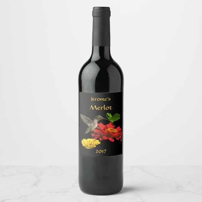 Hummingbird on Garden Flowers Wine Label