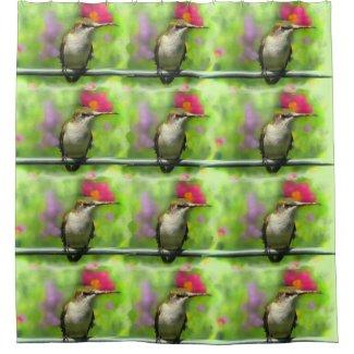 Hummingbird on Green Bird Shower Curtain
