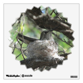 Hummingbird on Nest Wall Decal