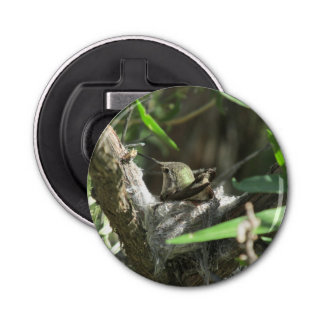 Hummingbird on Nest Button Bottle Opener