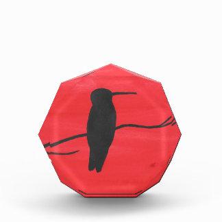 Hummingbird On Red Acrylic Award