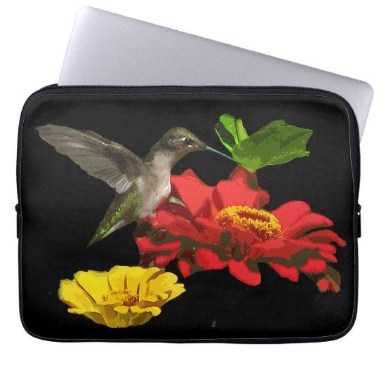 Hummingbird on Red and Yellow Zinnias Computer Sleeve