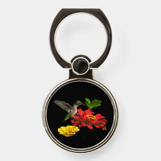 Hummingbird on Red Flower Phone Ring Holder