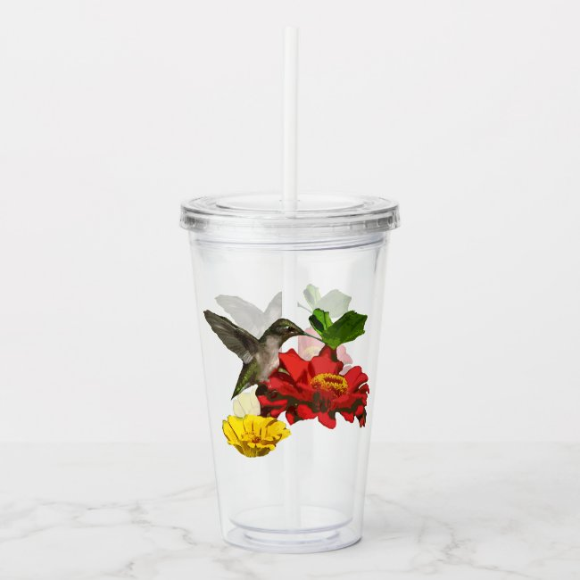 Hummingbird on Red Zinnia Flowers Acrylic Tumbler