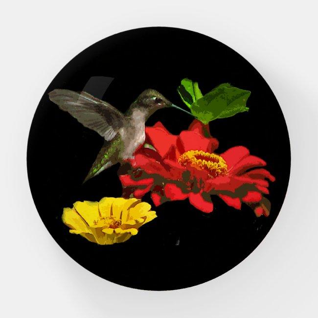 Hummingbird on Red Zinnia Glass Paperweight