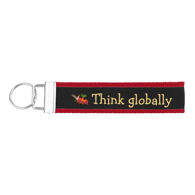 Hummingbird on Think Globally Act Locally Keychain
