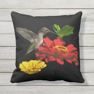 Hummingbird on Zinnia Flower Animal Outdoor Pillow