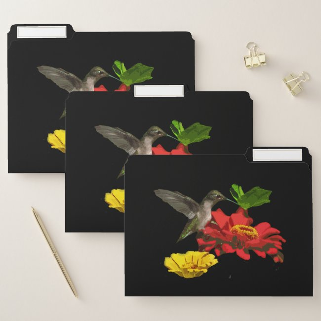 Hummingbird on Zinnia Flowers File Folder Set