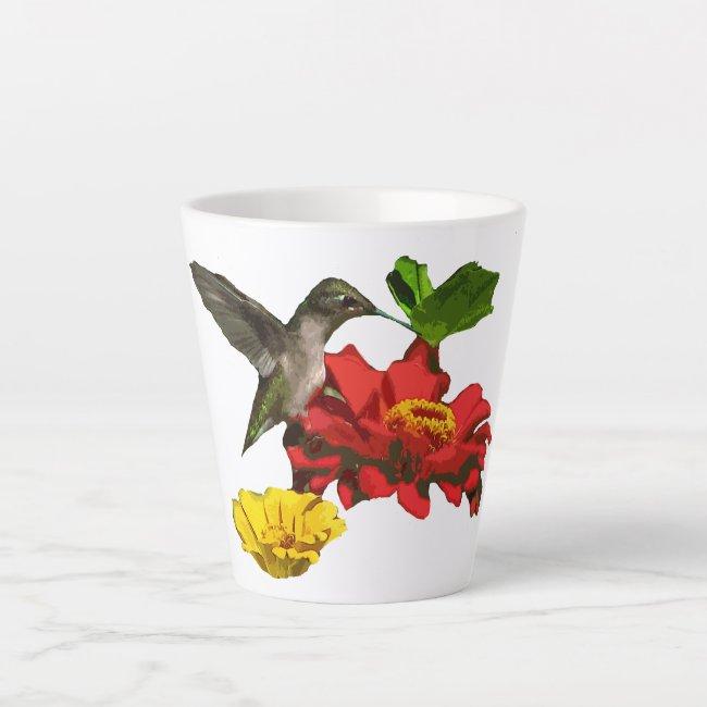 Hummingbird on Zinnia Flowers Latte Mug
