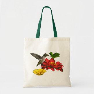 Hummingbird on Zinnias Budget Tote Bag