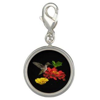 Hummingbird on Zinnias Charm Bracelet