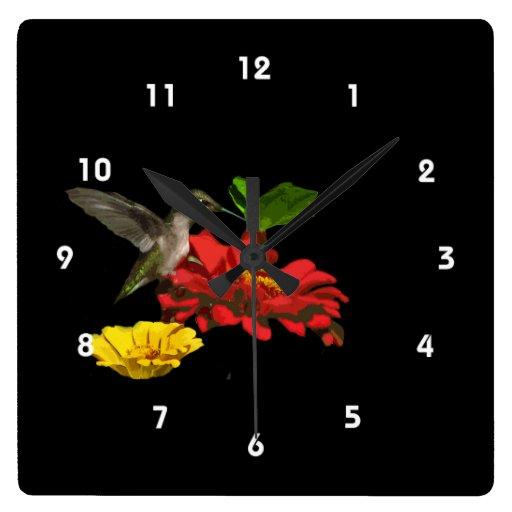 Hummingbird on Zinnias Square Wall Clocks
