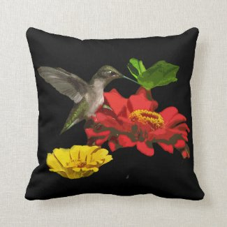 Hummingbird on Zinnias Throw Pillow