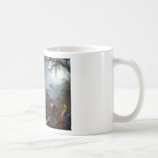 Hummingbird orchid flower tropical forest painting coffee mug