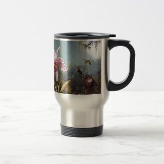 Hummingbird orchid flower tropical forest painting travel mug