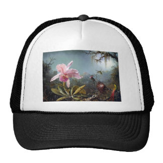 Hummingbird orchid flower tropical forest painting trucker hat