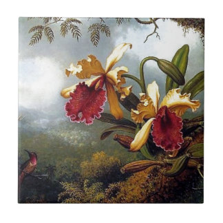 Hummingbird Orchids painting Tile