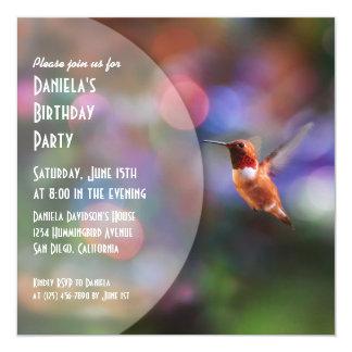 "Hummingbird Party Invitations 5.25"" Square Invitation Card"