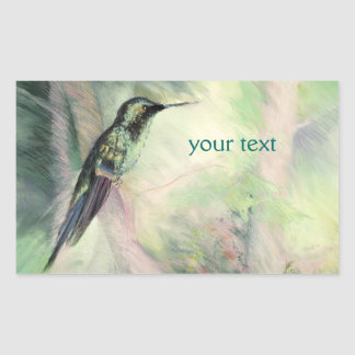 Hummingbird Pastel Fine Art Rectangular Sticker