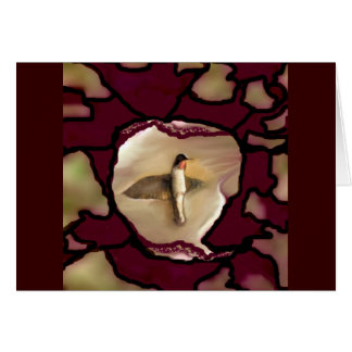Hummingbird Pattern Puzzle Maroon by Lin Masters Card