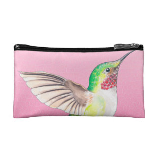 Hummingbird Pink Stained Glass Cosmetic Bag