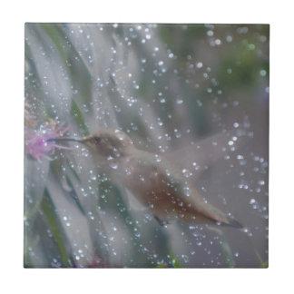 Hummingbird - playing in the rain ceramic tile