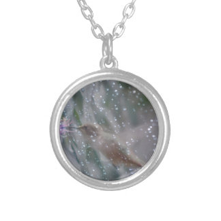 Hummingbird - playing in the rain silver plated necklace