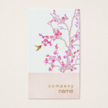 Hummingbird Pretty Pink Buds Branch Business Card