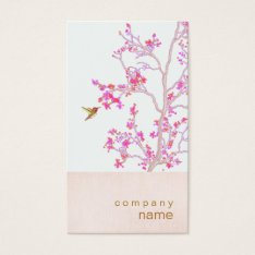 Hummingbird Pretty Pink Buds Branch Business Card at Zazzle