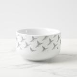 Hummingbird Print Soup Bowl With Handle