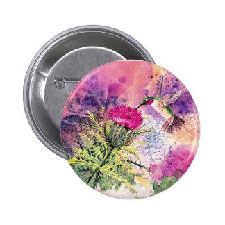 Hummingbird Purple Thistle Art Print Button Pin