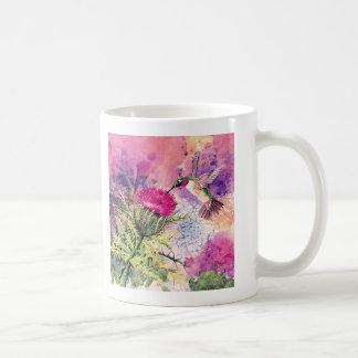 Hummingbird Purple Thistle Art Print Coffee Mug