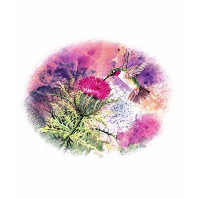Kolibri-purpurroter Distel-Kunst-Druck Hemd von greerdesign. Entworfen von meiner ursprünglichen Aquarellmalerei, ist dieser reizende Druck für Geschenke