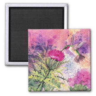 Hummingbird Purple Thistle Magnet