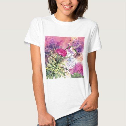 Hummingbird Purple Thistle Womens Tee Shirt