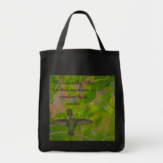 Hummingbird reads words of wisdom tote bag