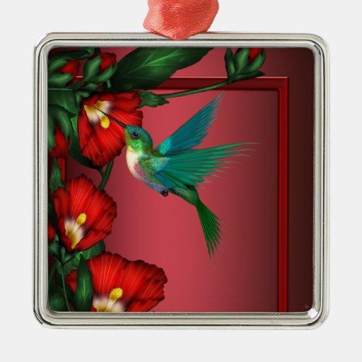 Hummingbird Red Hibiscus Ornament
