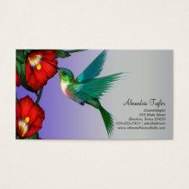 Hummingbird Red Hibiscus Teal Blue Purple Business Card