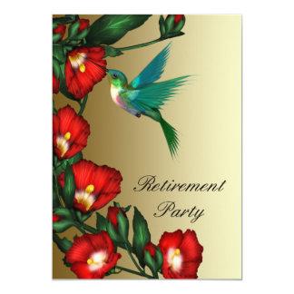 Hummingbird Red Hibiscus Womans Retirement 5x7 Paper Invitation Card