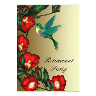 Hummingbird Red Hibiscus Womans Retirement Card