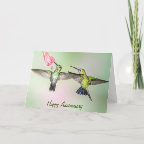 Hummingbird Romantic Couple Happy Anniversary Card