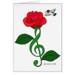 Hummingbird Rose Clef Card