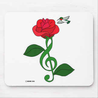 Hummingbird Rose Clef Mouse Pad