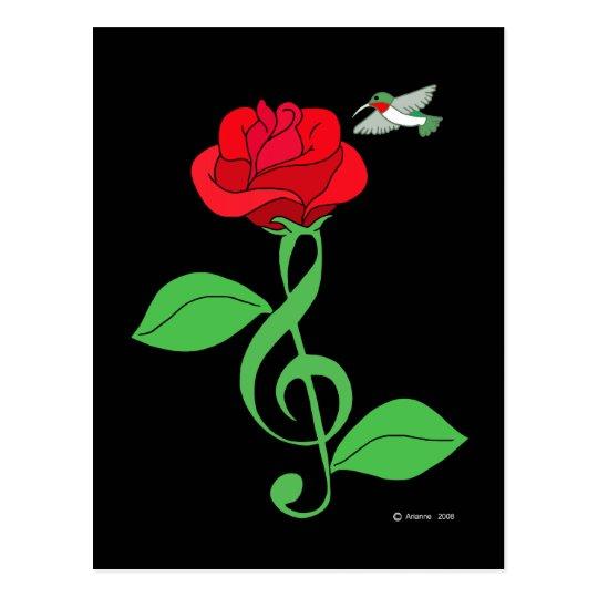Hummingbird Rose Clef Postcard