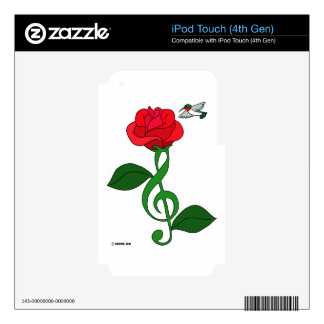 Hummingbird Rose Clef Decals For iPod Touch 4G