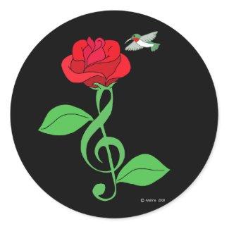 Hummingbird Rose Clef sticker